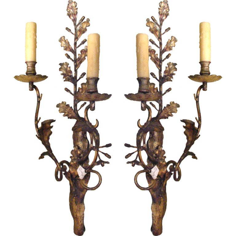 Pair 1940 S French Gilt Iron Sconces At 1stdibs