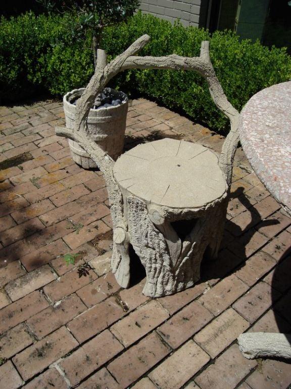 Faux Bois Cement : Faux bois cement garden set at stdibs