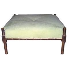 Cast bronze faux bamboo square ottoman