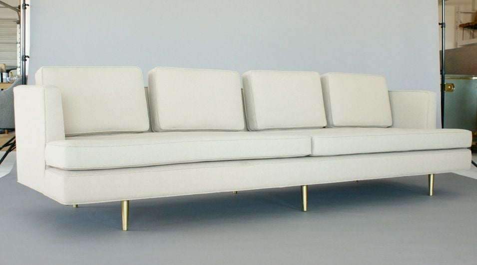 Edward Wormley for Dunbar Sofa 4907A- Four loose back and two loose seat cushions. Reupholstered in Knoll Swing fabric,color sand. Sofa 110