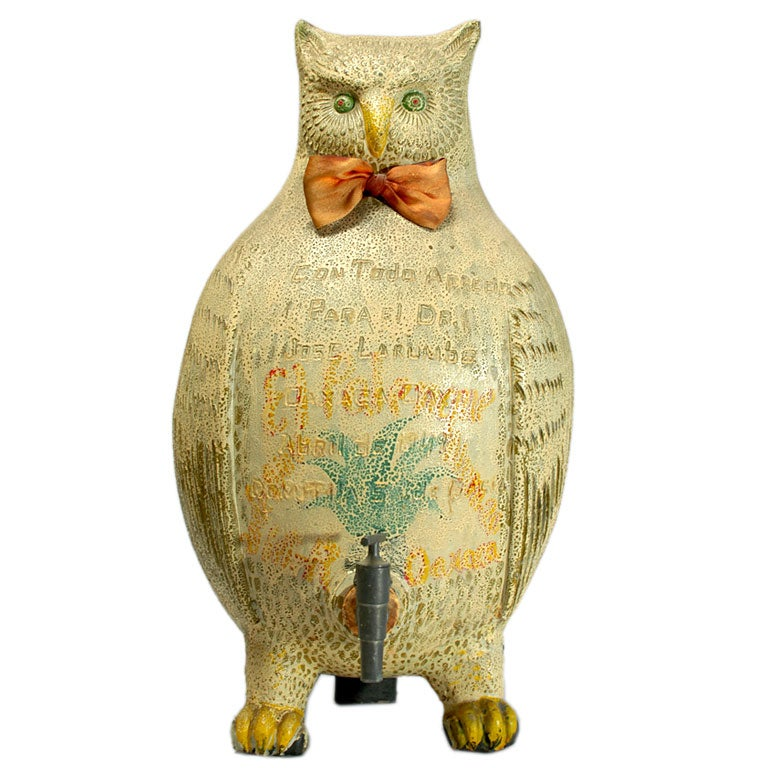Large Vintage Mexican Ceramic Mezcal Owl From Oaxaca At