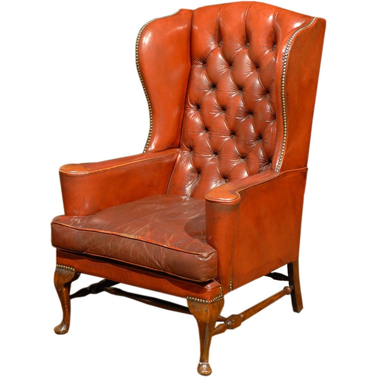 Red Leather Wingback Chair For Sale: English Red Leather Wing Chair At 1stdibs