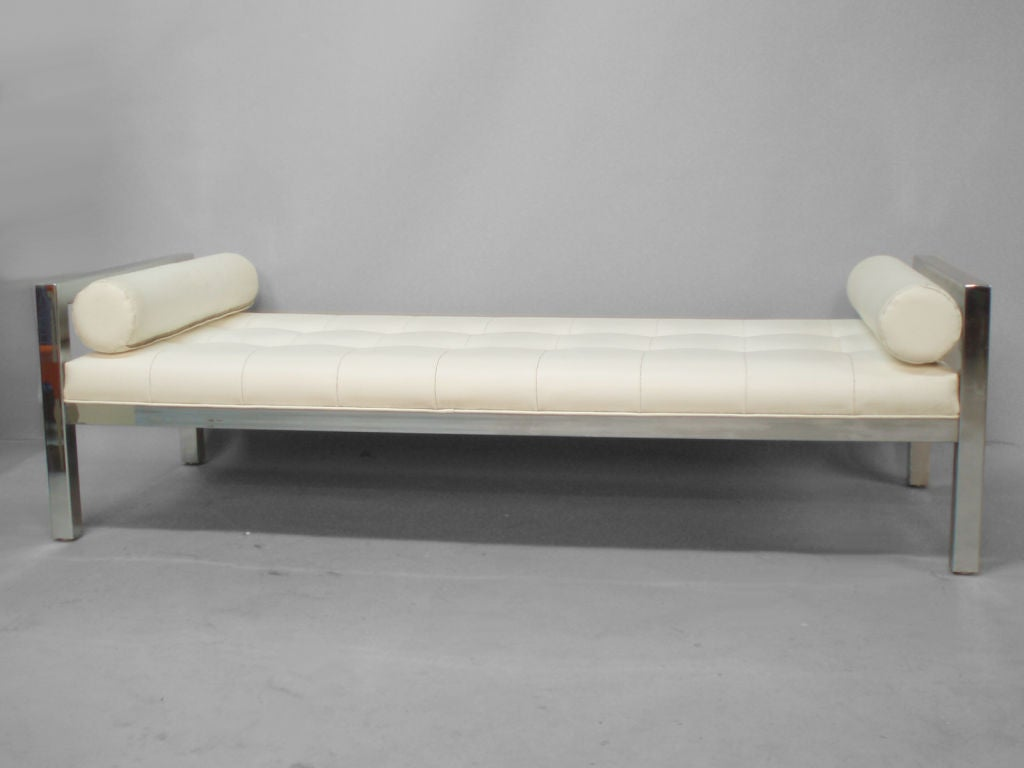 a stainless steel and naugahyde studio couch at 1stdibs