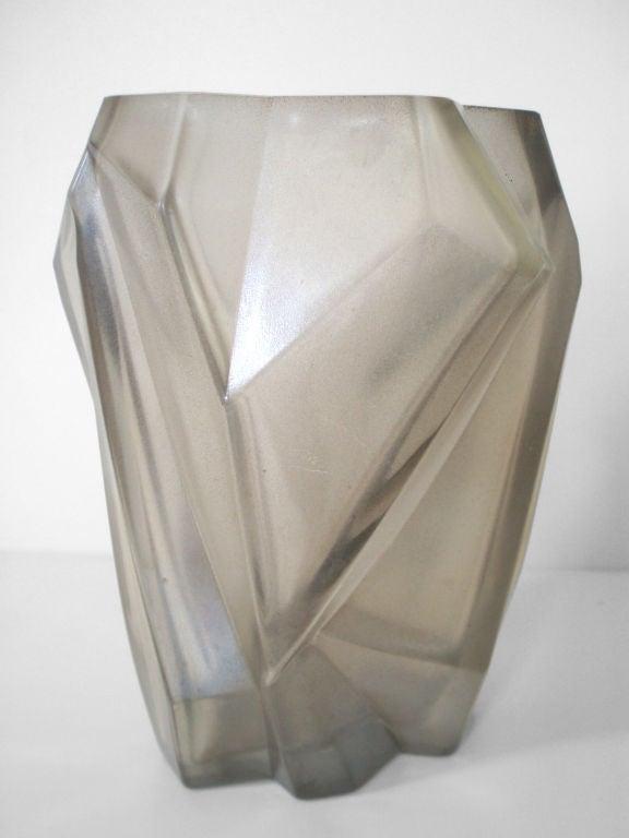 A Geometric Cubist Ruba Rhombic Form Glass Vase At 1stdibs