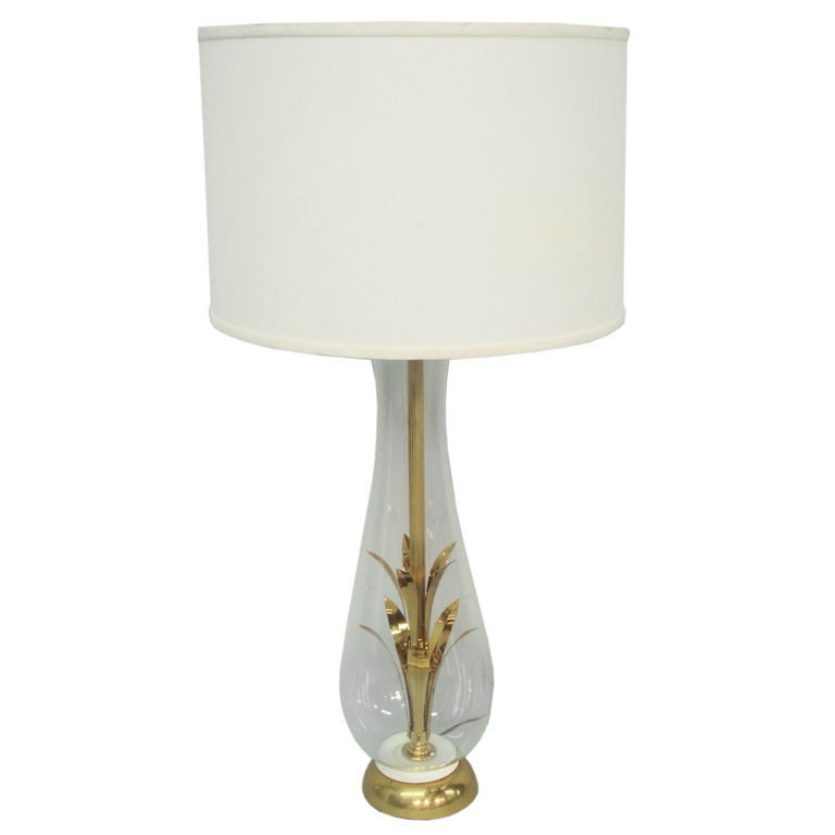 A Brass And Glass Table Lamp As Seen On Mad Men For Sale