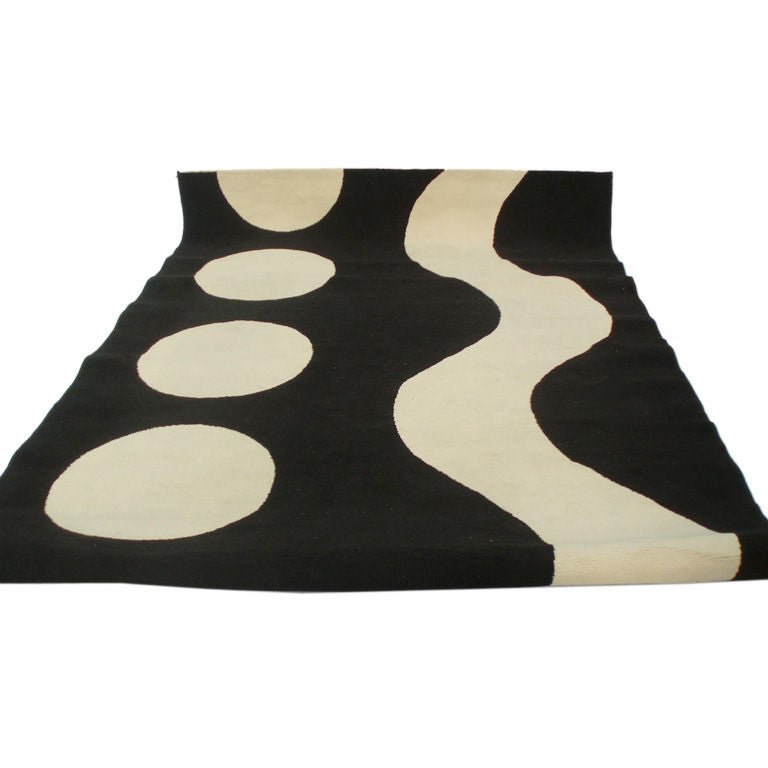 A Graphic Black And White Area Rug At 1stdibs