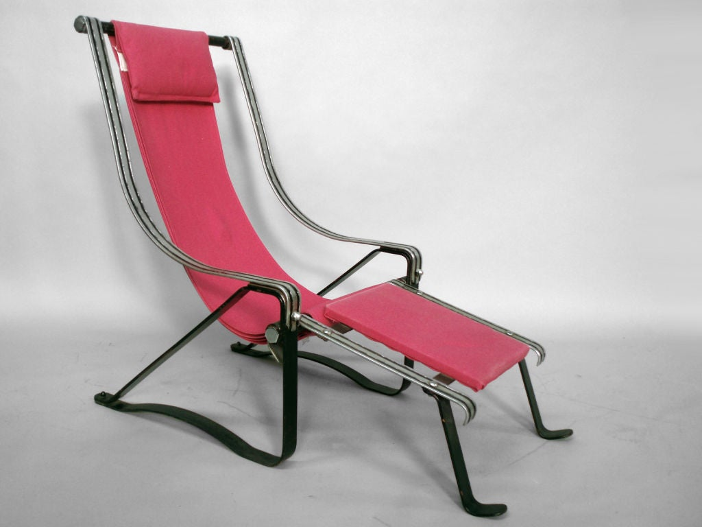 A Rare Spring Steel Chrome Chair And Ottoman By McKay Co.,
