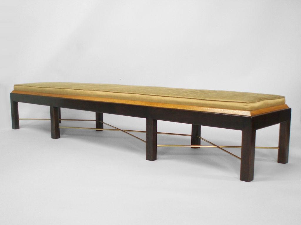 A Long Brass Wood Silk Bench At 1stdibs