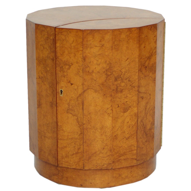 A burl wood drum table with door by edward wormley for for Drum side table