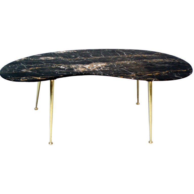 A Marble Top Brass Leg Cocktail Table At 1stdibs