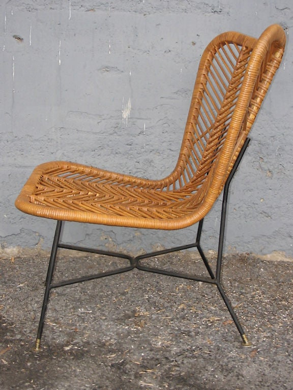 Matched pair of bamboo reed wicker armless lounge height for Wicker reed