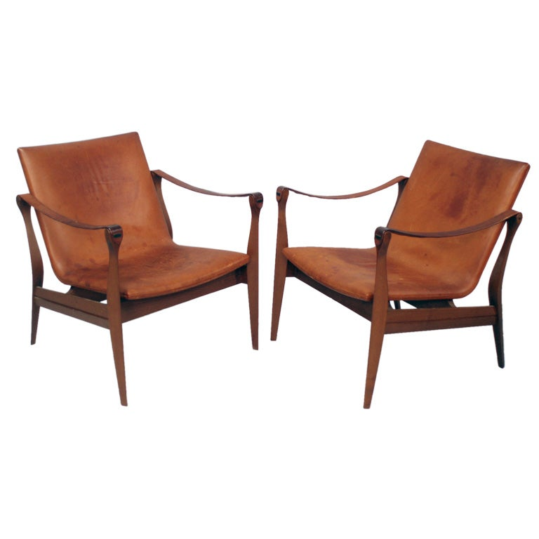 Pair Of Rosewood And Orange Leather Arm Chairs At 1stdibs