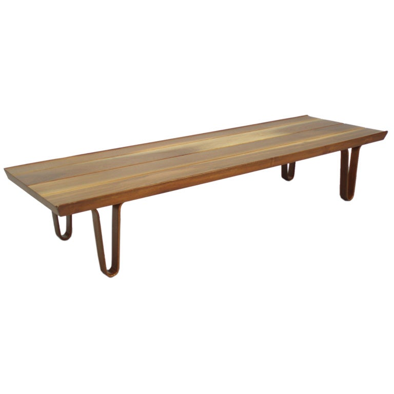 A Short John Walnut Cocktail Table Bench By Edward Wormley At 1stdibs