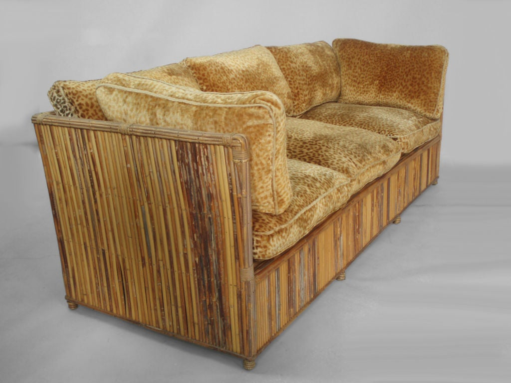 A pair of split reed rattan couches at 1stdibs for Wicker reed
