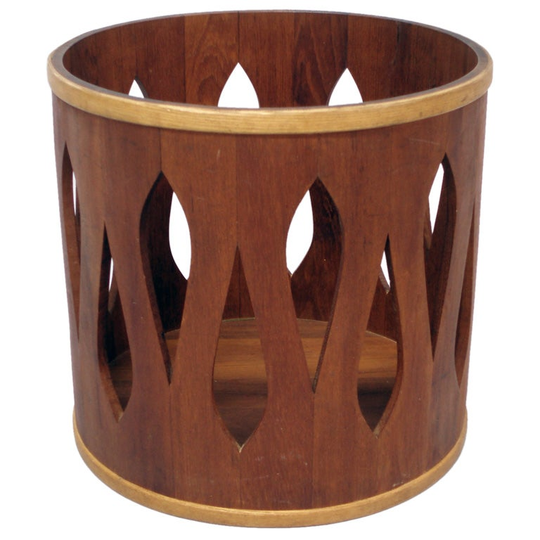 A teak and oak trash can by jh quistgaard for dansk at stdibs