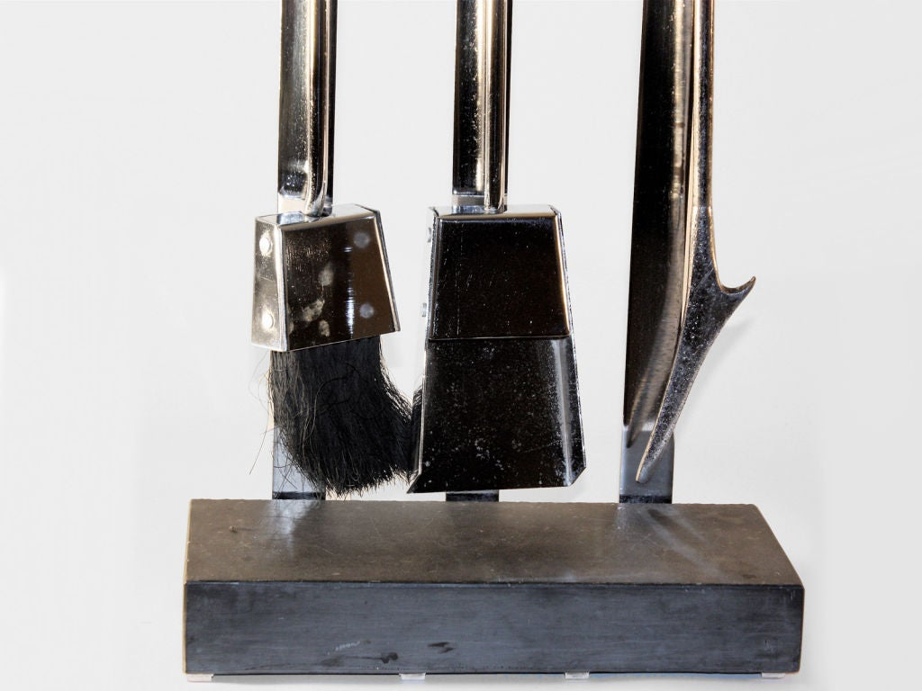 Unusual Albrizzi Tool set - chrome and stone stand - chrome and black tools . Hard to find version of AA tool set.