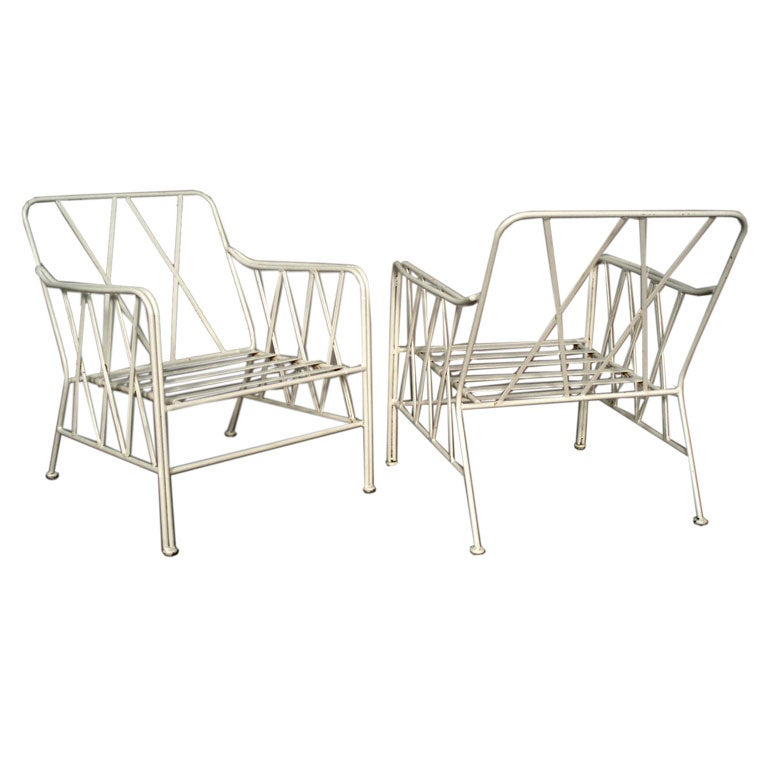 Pair Wrought Iron Lounge Chairs in the Style of Dorothy Draper at 1stdibs