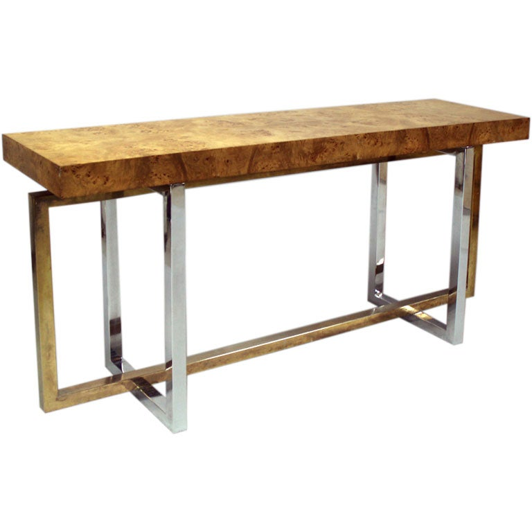 A Blonde Burled Wood Console Table With A Chrome Base