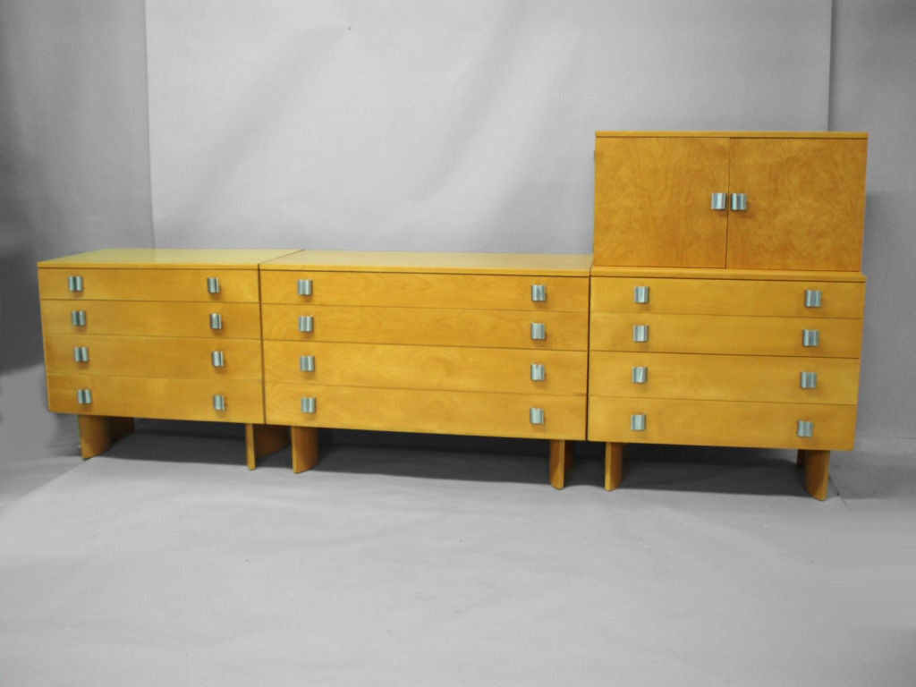 Brushed Blonde Chest on Chest by Eilel Saarinen for Johnson Furniture For Sale