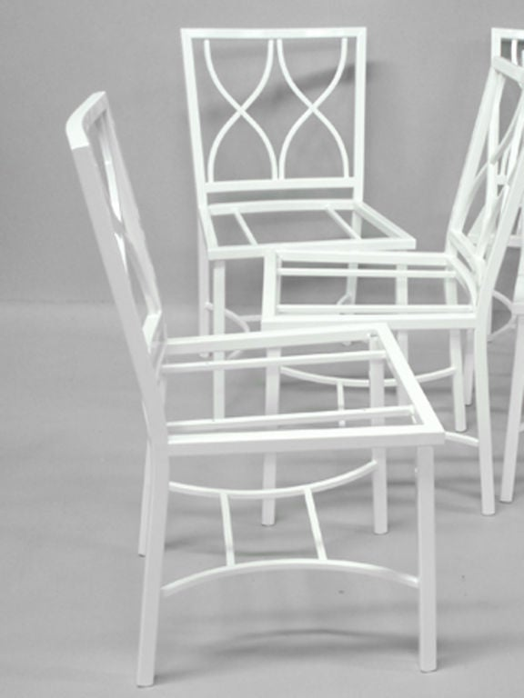 A set of eight Ocean liner aluminum chairs by Columbian Metal Craftsmen of Auburn N.Y.
