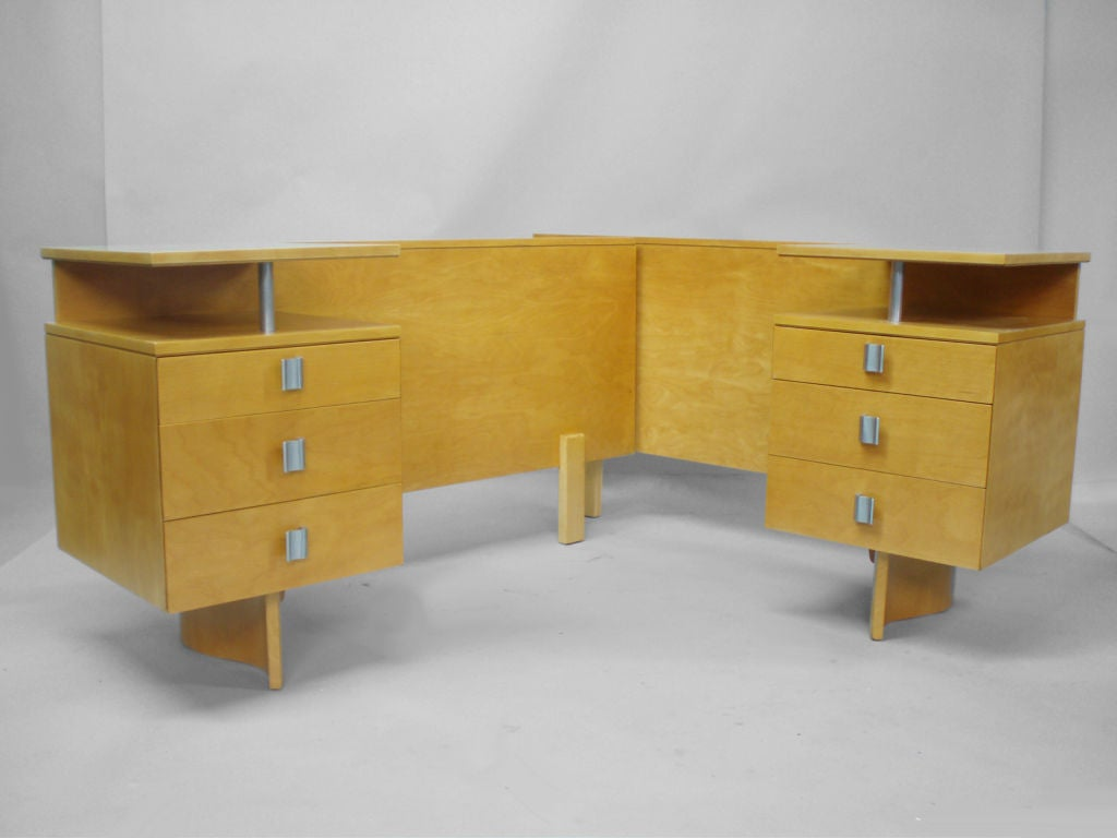 A king size bed with attached nightstands by saarinen and swanson at 1stdibs - Beds with desks attached ...