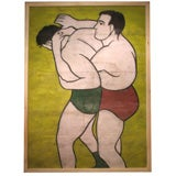 A Vintage Large Wrestlers Canvas from a Circus Sideshow