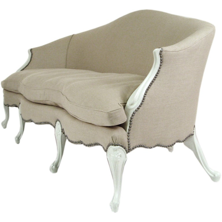 A Venetian Linen Upholstered Sofa At 1stdibs