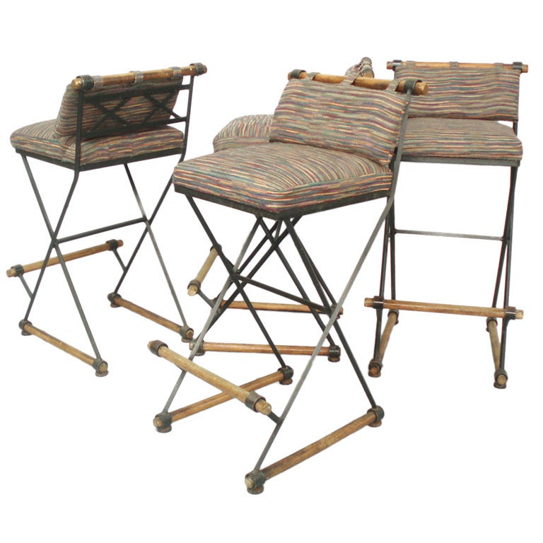 Four Wrought Iron Maple Bar Stools At 1stdibs