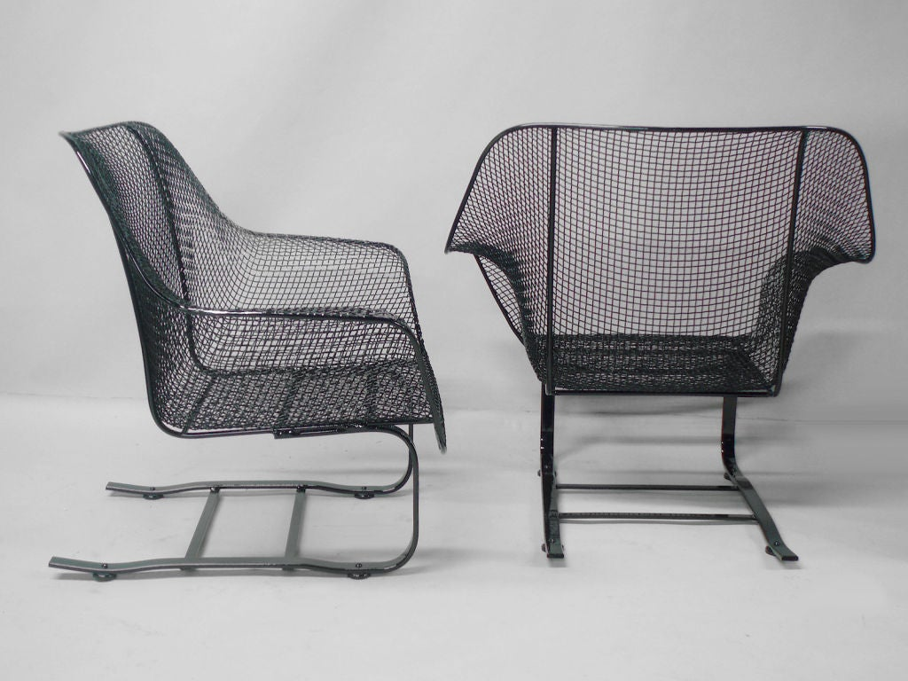 Pair of Russell Woodard Steel Mesh Spring base lounge chairs For Sale at 1stdibs