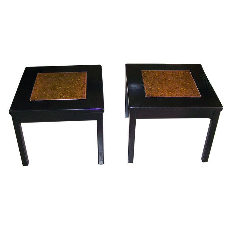 pair of black lacquer side tables by brown and saltman at