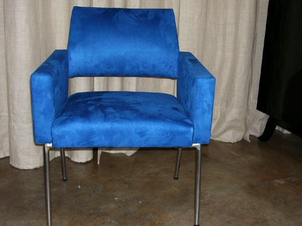 Set of four, 1968 chair upholstered with blue suede fabric design by Kay Kording.