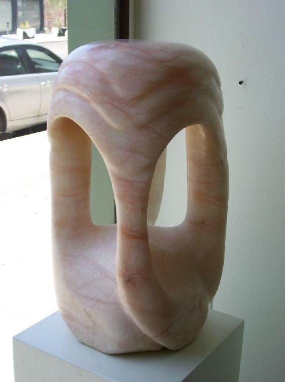 Mid-Century Modern Sculptural Single Pink Alabaster Lamp For Sale