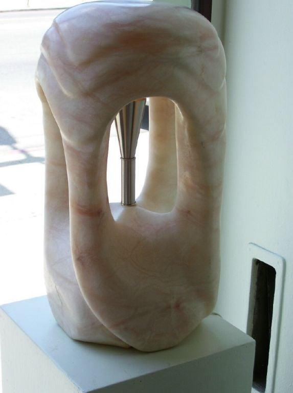 American Sculptural Single Pink Alabaster Lamp For Sale