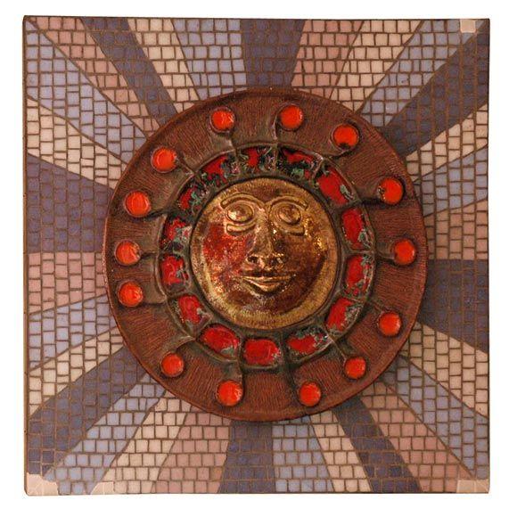 1950s Italian Sunburst Ceramic Wall Sculpture