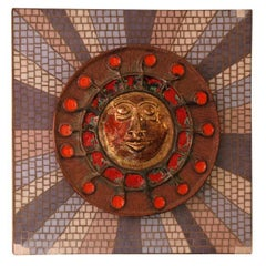 1950s Italian Sunburst Ceramic Wall Sculpture