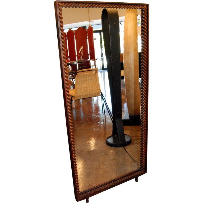 Mid-Century Modern 1940s Standing Mirror by Gilbert Poillerat For Sale