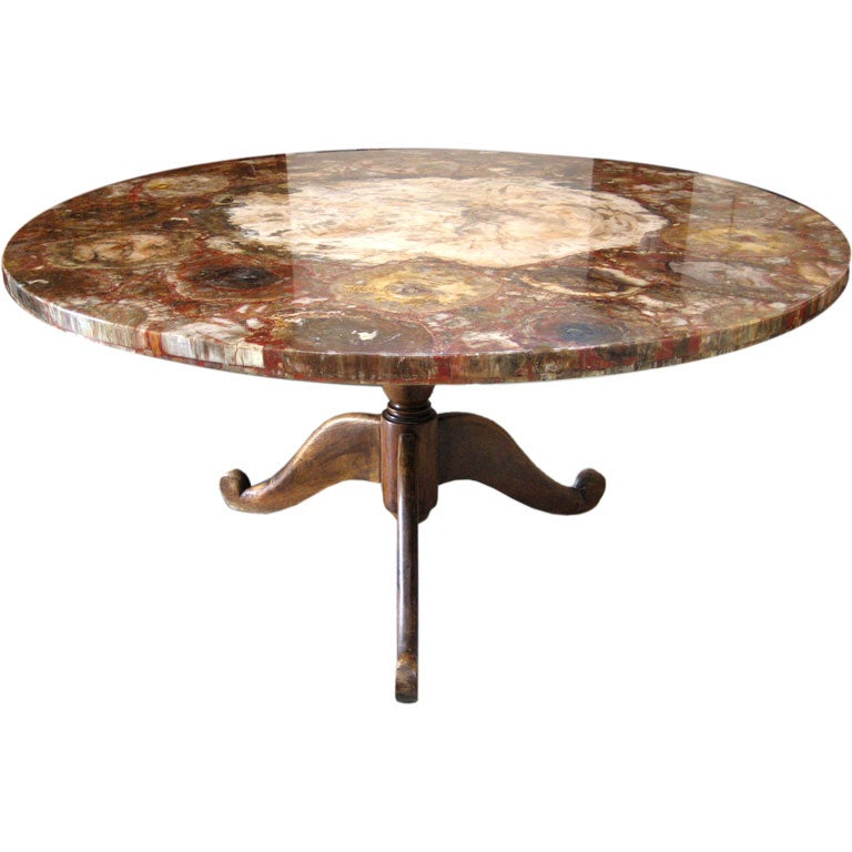 Petrified wood center table at 1stdibs for Petrified wood furniture for sale