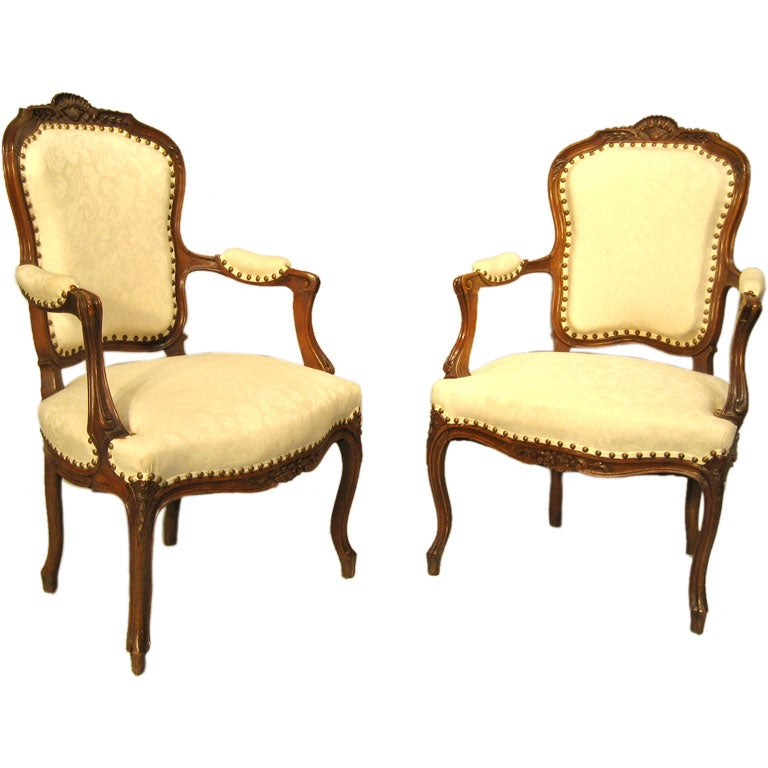Pair Of Louis Xv Style Fauteuils At 1stdibs