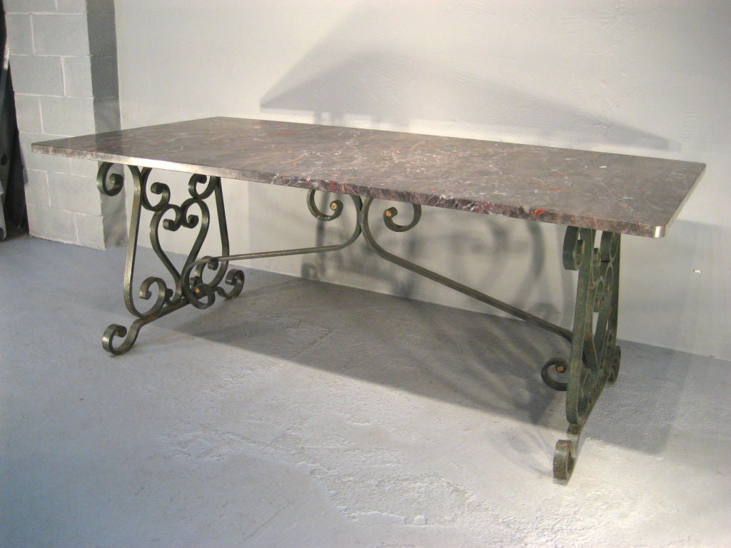 1900 39 s french wrought iron marble top dining table at 1stdibs - Marble tops for furniture ...