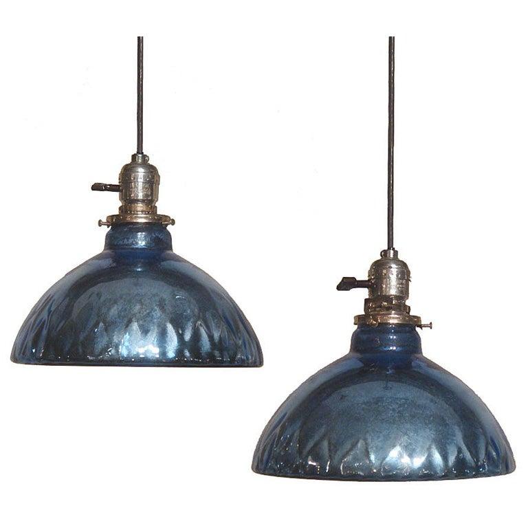 Blue Mercury Glass Pendant Lights