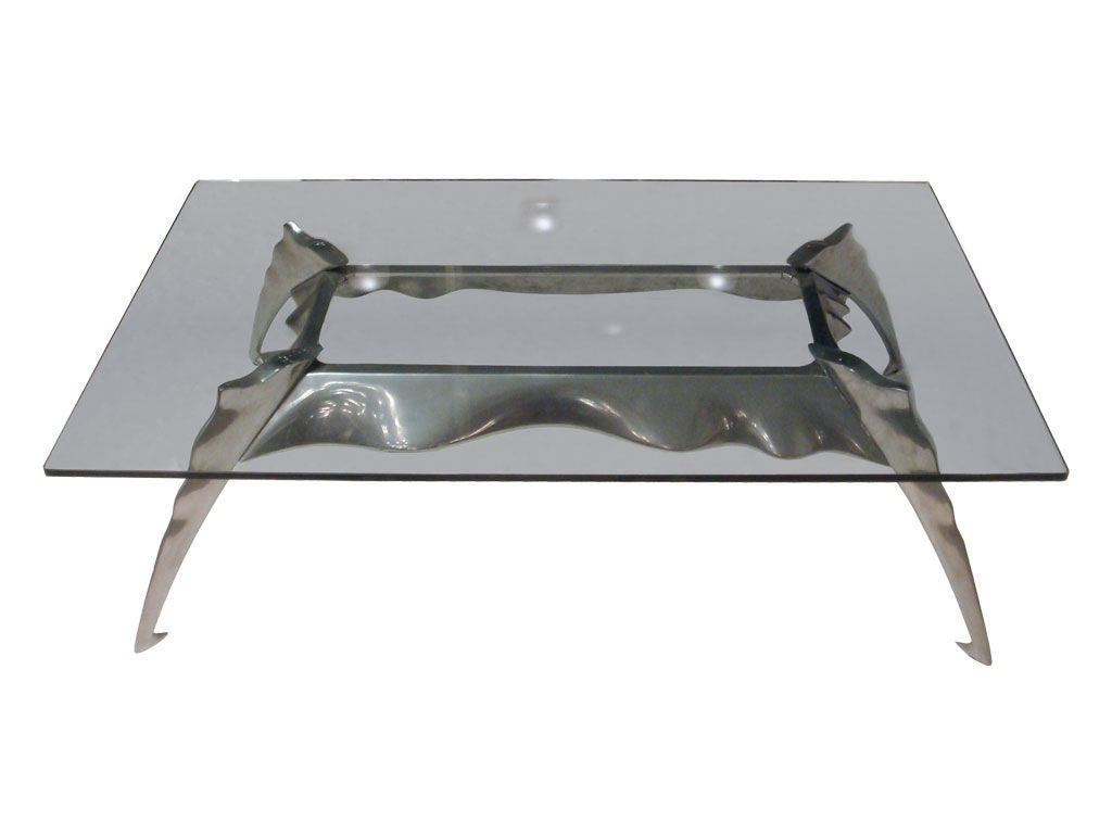 Cast Aluminum Coffee Table For Sale at 1stdibs -> Aluminium Table