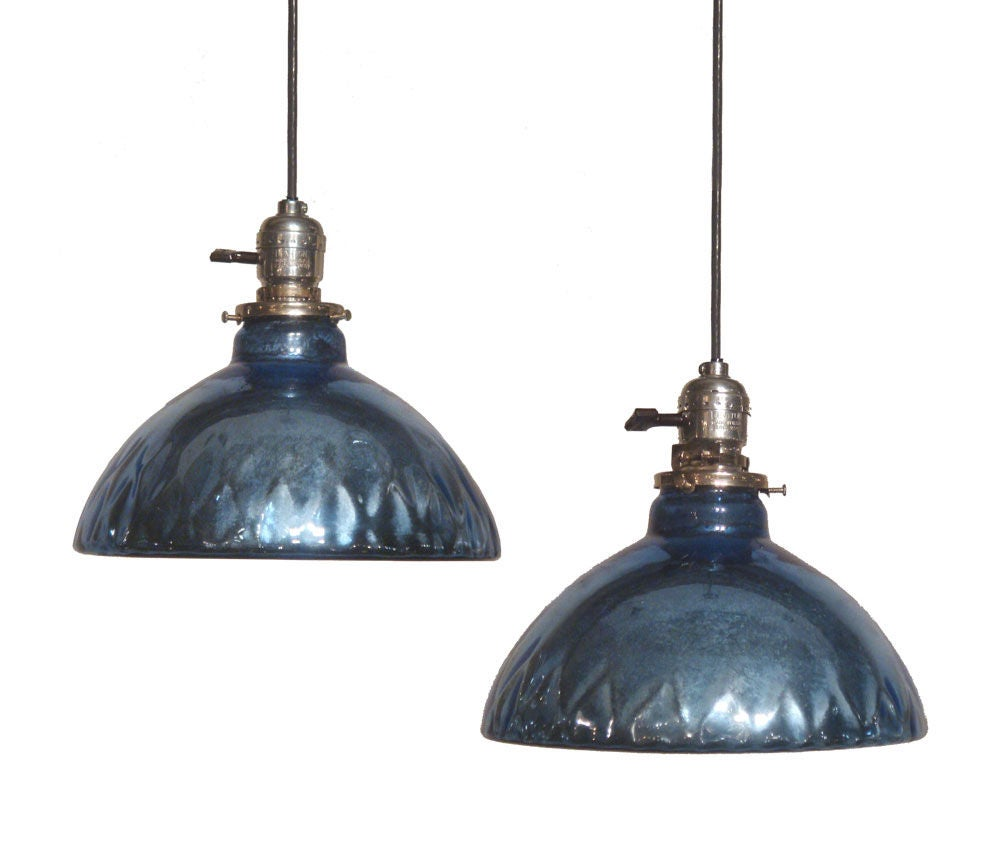 Pendant lighting without shade : Quot blue mercury glass oil lamp shade pendant lights at stdibs