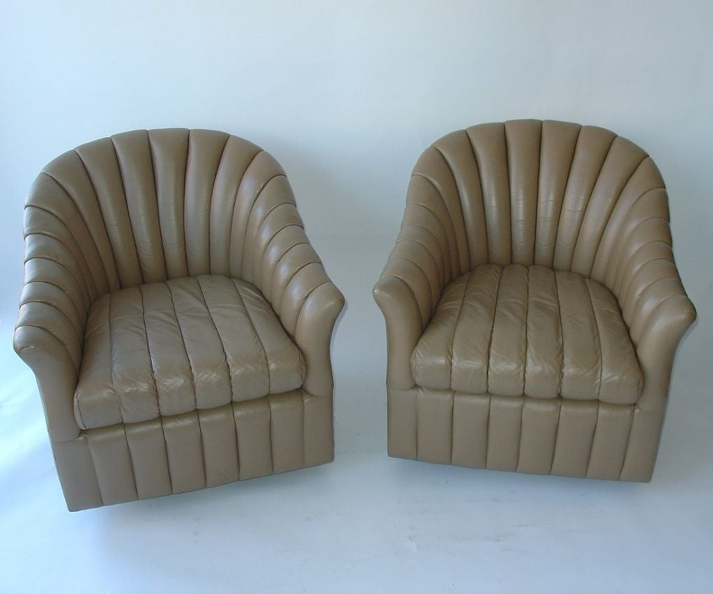 Pair Of Barrel Back Swivel Chairs And Ottoman At 1stdibs