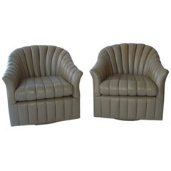 Pair of Barrel Back Swivel Chairs and Ottoman