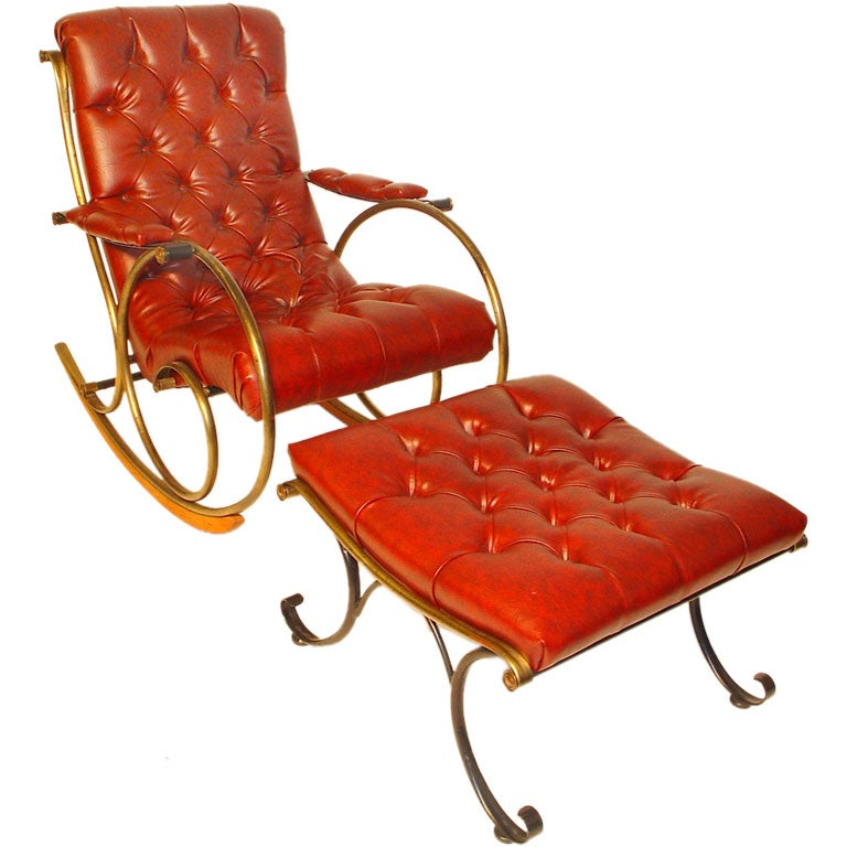 1960s Brass Rocking Chair and Ottoman at 1stdibs