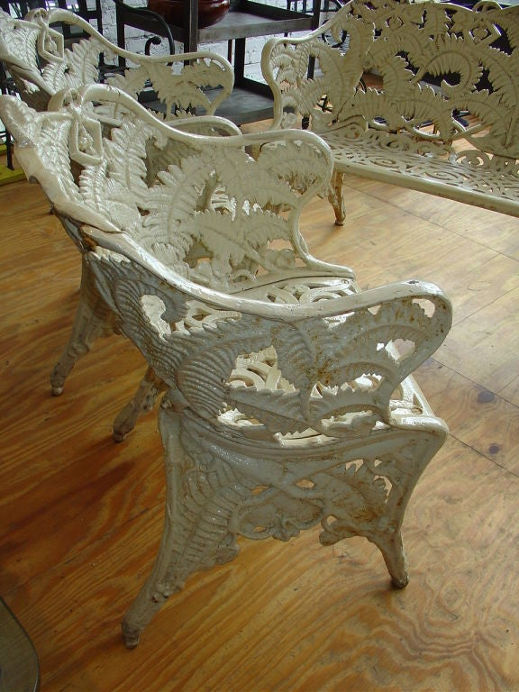 Fern And Blackberry Cast Iron Garden Bench And Two Chairs