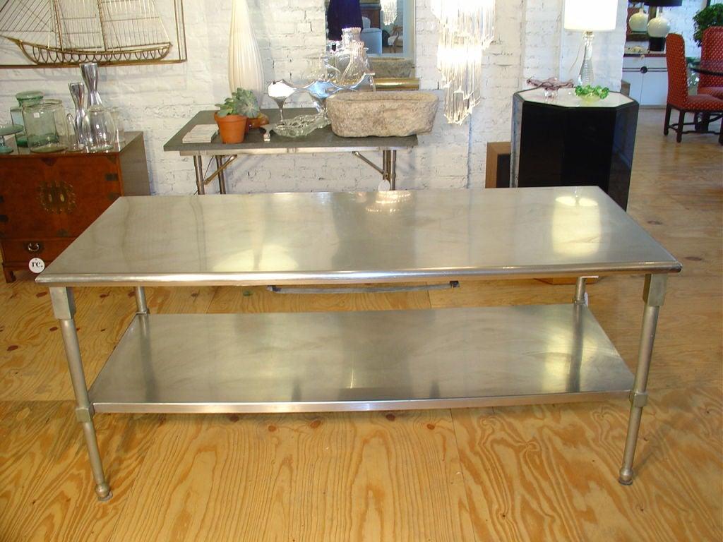 duparquet range company stainless steel kitchen island at