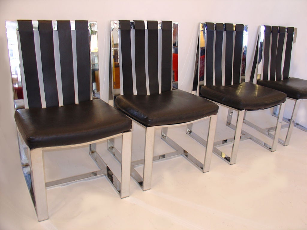 six milo baughman chrome dining chairs at 1stdibs
