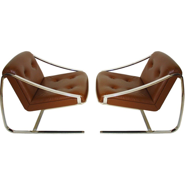 This napoleon iii club chair is no longer available - Pair Of Charles Gibiterra Plaza Club Chairs For Knoll At