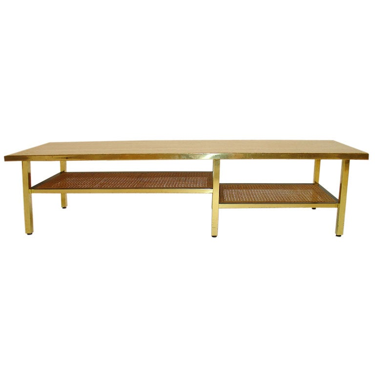 Harvey Probber Brass And Travertine Coffee Table At 1stdibs